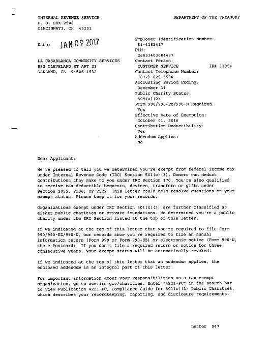 IRS 501(c)(3) approval letter for LaCasablanca Community Services, fiscal sponsor of Oakland Cultural Center